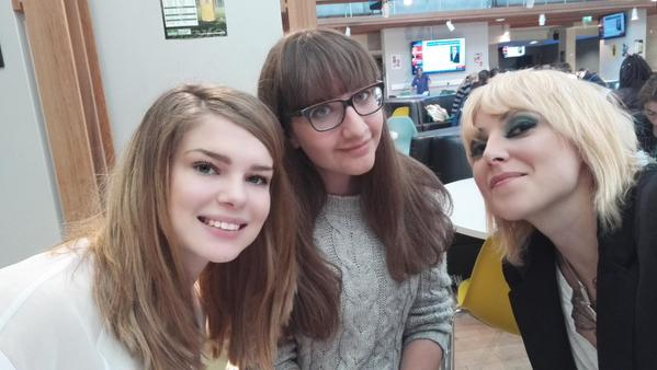 Our Music Editor Imogen Clyde-Smith and writer Holly Phillips enjoying a selfie with Natalie.